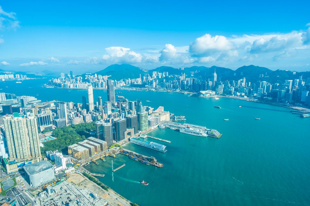 Beautiful architecture building exterior cityscape of hong kong